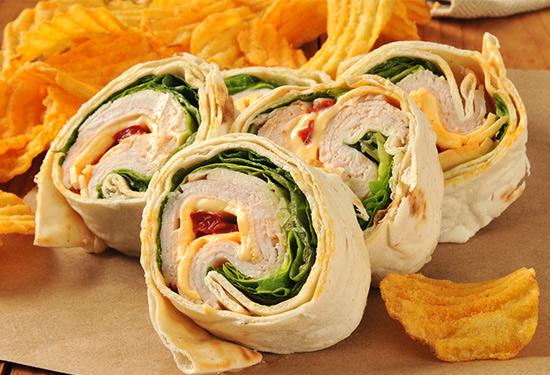 Pinwheel sandwiches and chips, Rachael's Food Western MA, Rachael's Food Massachusetts